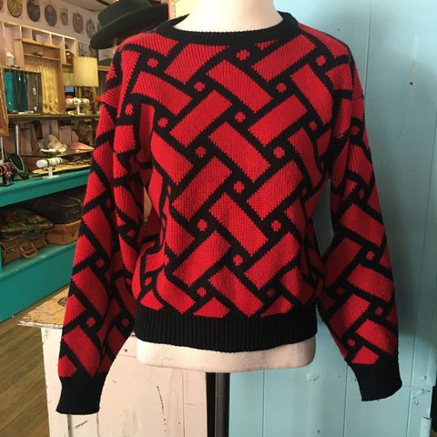 Rad 80's Red & Black Graphic Sweater