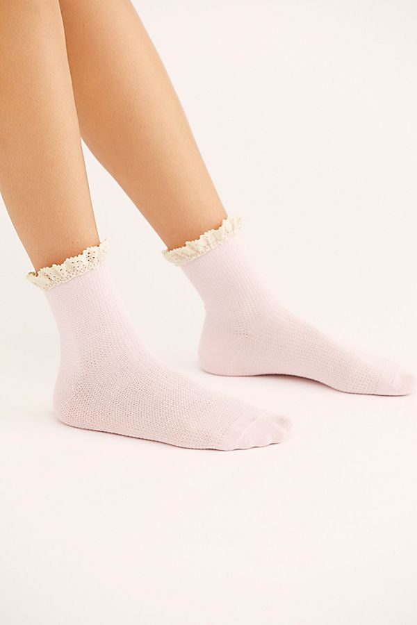 Free People - Darling Waffle Knit Sock Pink