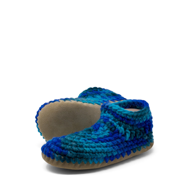Padraig Cottage - Womens Large Slippers Blue Multi