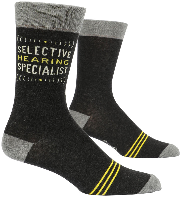 Blue Q - Men's Crew Socks Selective Hearing Specialists