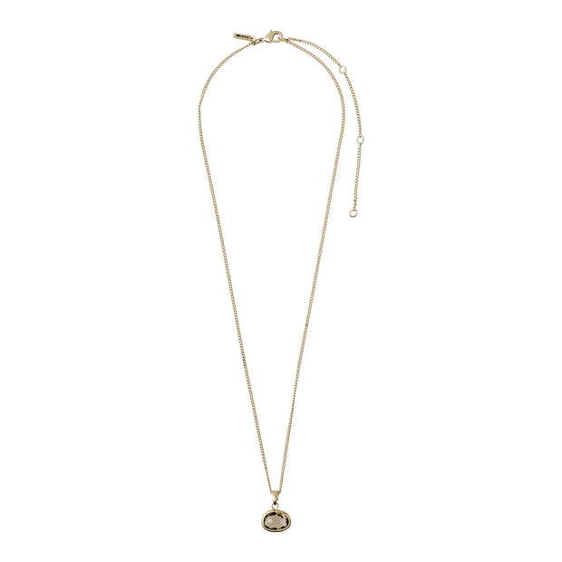Pilgrim - Necklace Air Gold Plated Grey