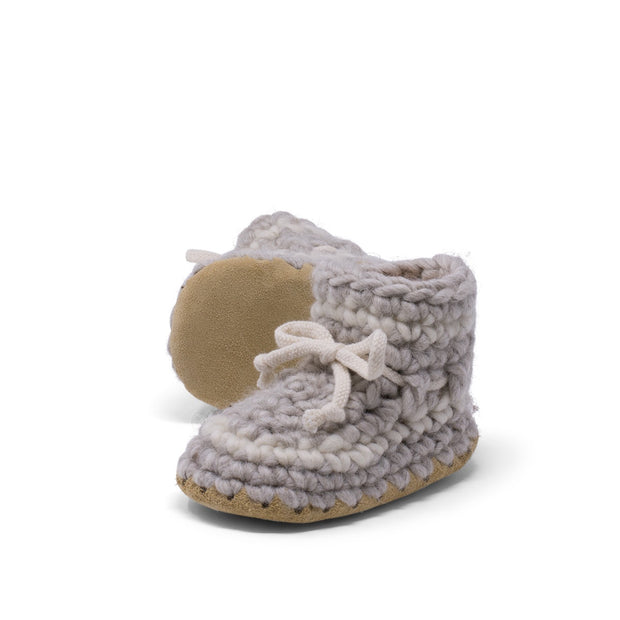 Padraig Cottage - Baby Size 3 Slippers Grey Stripe