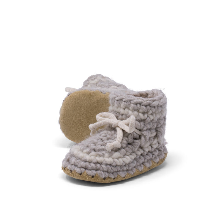 Padraig Cottage - Baby Size 7 Slippers Grey Stripe