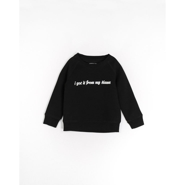Brunette the Label - I Got It From Cursive Kids Crewneck in Black