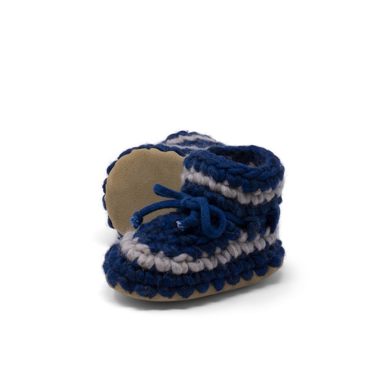 Padraig Cottage - Baby Size 3 Slippers Denim Stripe