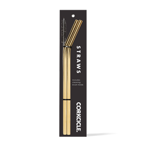 Corkcicle - Stainless Straw 2pk with Cleaning Brush Gold
