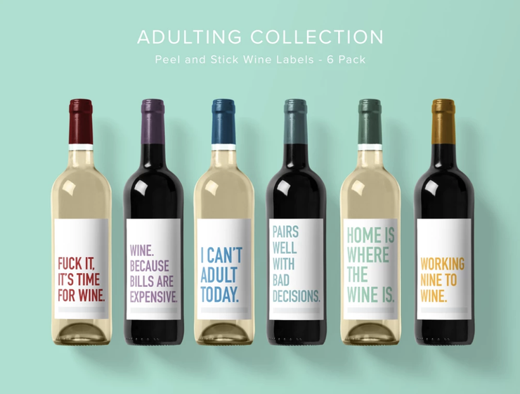 Classy Cards - Wine Labels 6 Pack Adulting