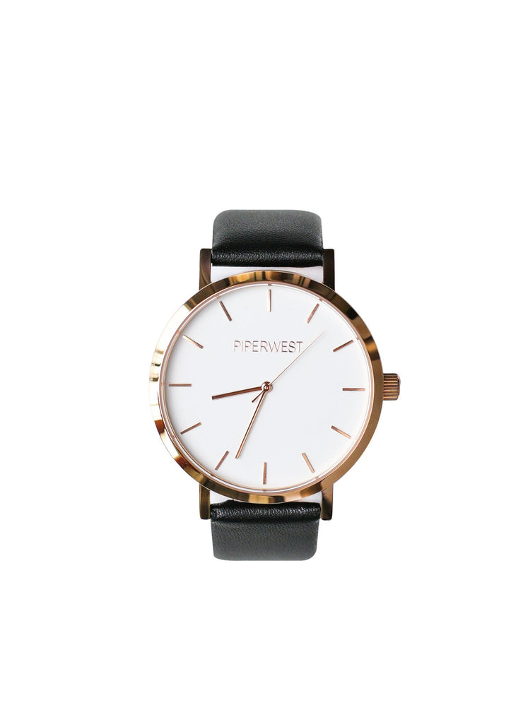 PiperWest - Classic Minimalist 42mm in Rose Gold and Black
