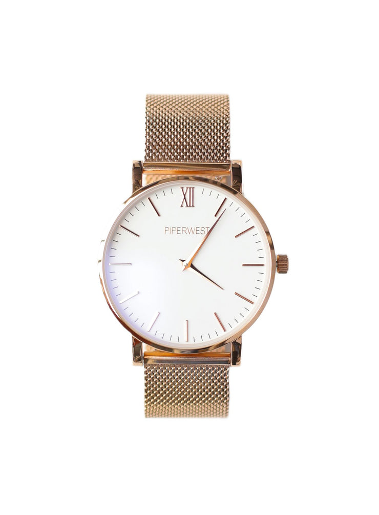 PiperWest - Mesh Minimalist 42mm in Rose Gold