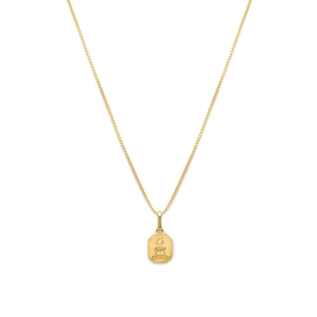 Leah Alexandra - Necklace Love Token Square Gold