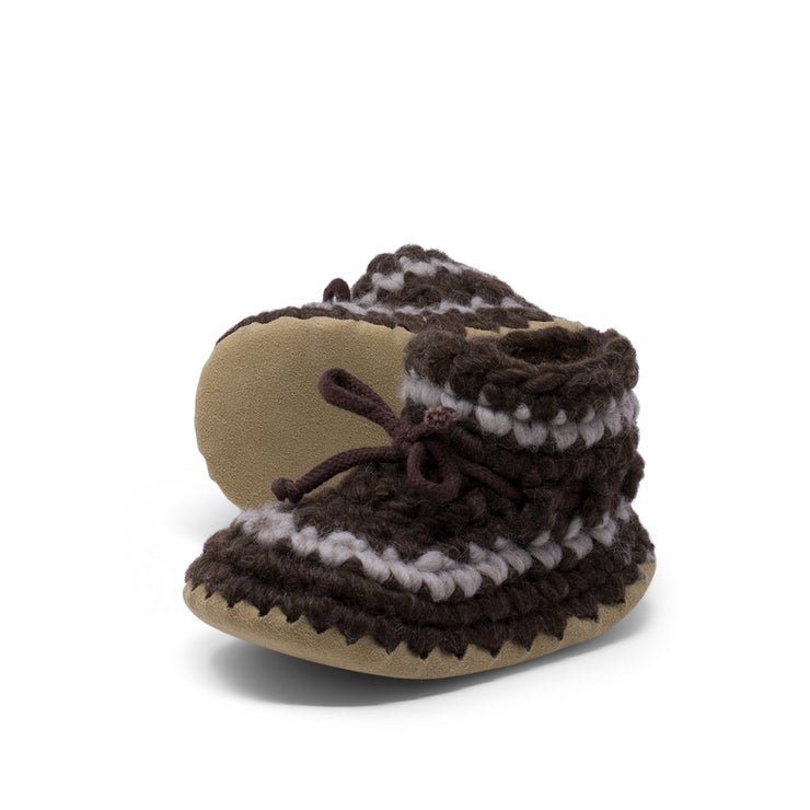 Padraig Cottage - Child Size 11 Slippers Brown Stripe