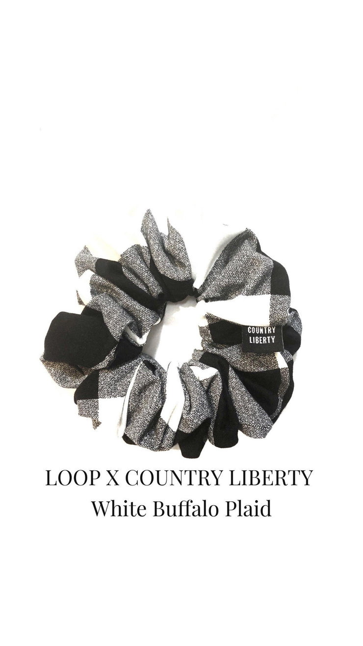 LOOP Scrunchie Country Liberty White Buffalo Plaid