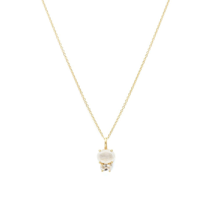 Leah Alexandra - Necklace Bijou Moonstone + White Topaz + Gold