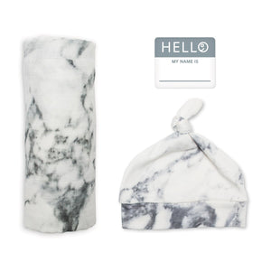 Kid Central - Lulujo Hello World Blanket and Knotted Hat Marble