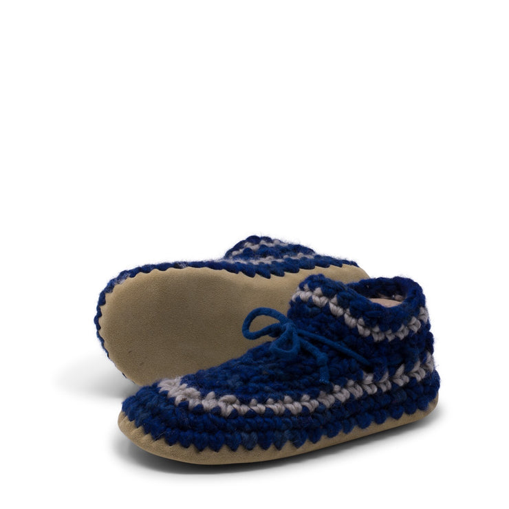 Padraig Cottage - Womens Medium Slippers Denim Stripe