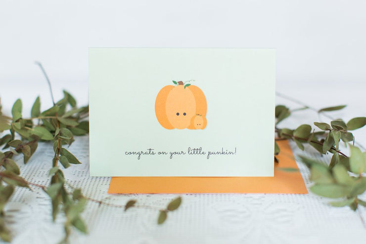 Halifax Paper Hearts Card - Congrats On Your Little Punkin!