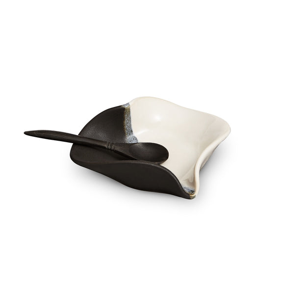 Hilborn Heart Dish with Tiny Rosewood Spoon Black and White
