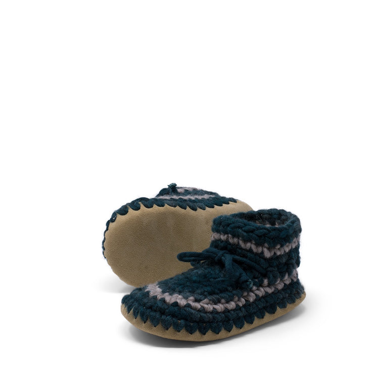 Padraig Cottage - Youth Size 1 Slippers Forest Stripe