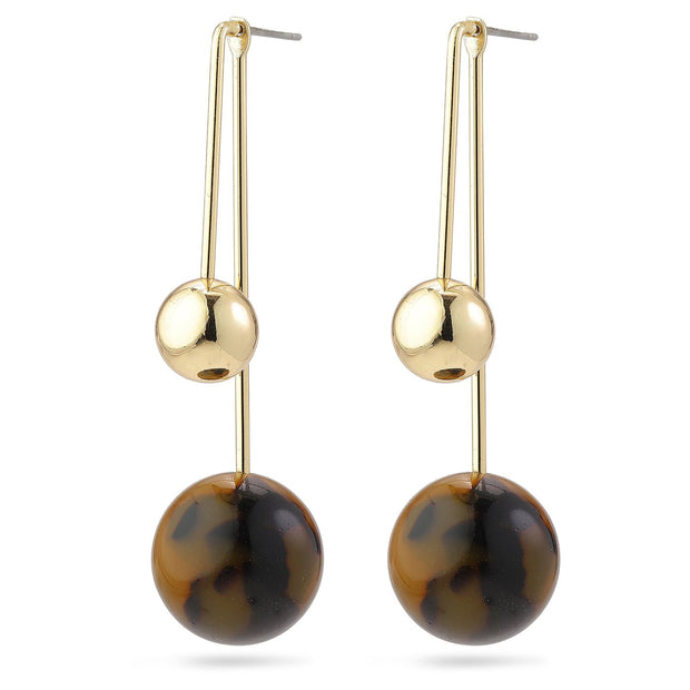 Pilgrim - Earrings 2 in 1 Jacinta Gold Plated Brown