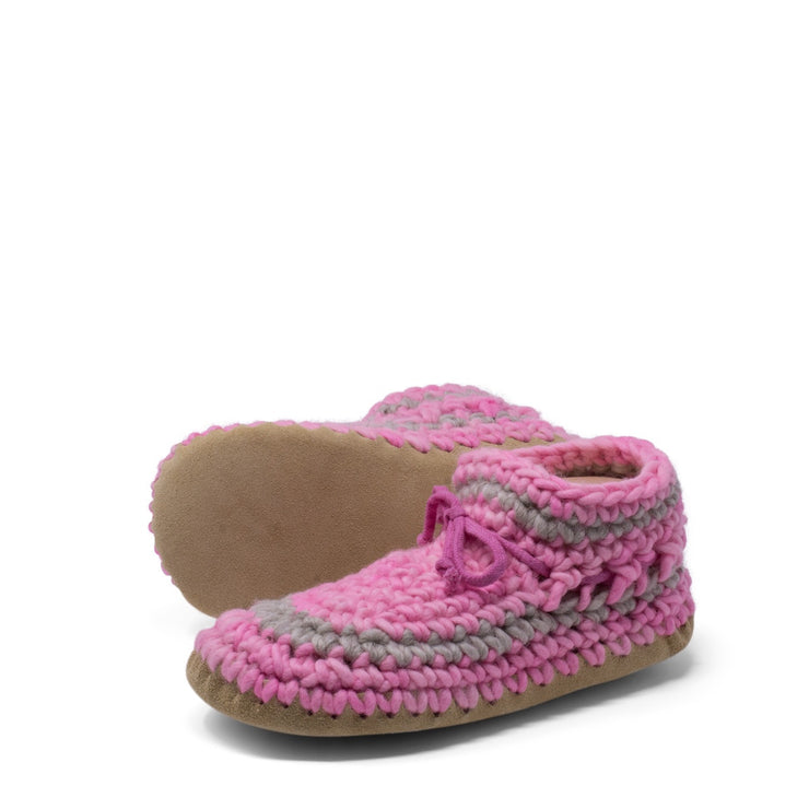Padraig Cottage - Womens Large Slippers Pink Stripe