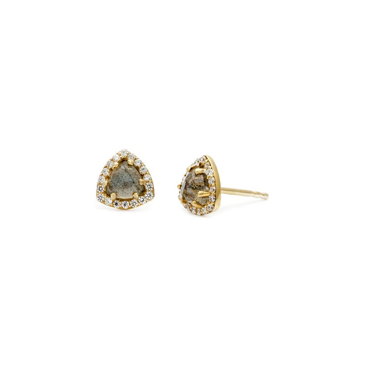 Leah Alexandra - Earrings Trielle Mini Studs Labrodite + Gold
