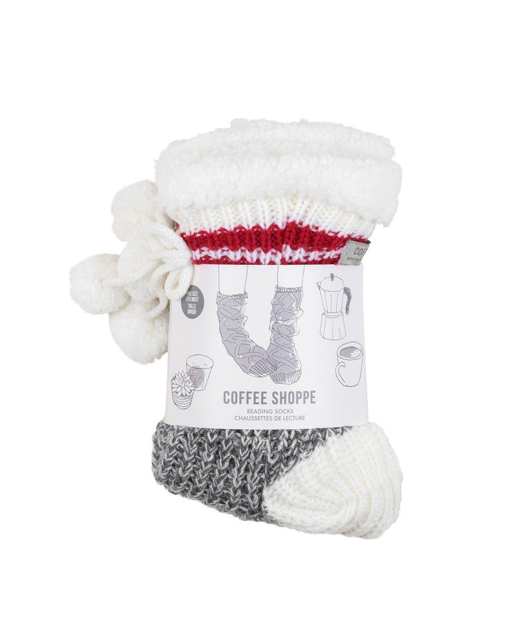 Coffee Shoppe - Classic Canadiana Cottage Life Low Cut Slipper Socks Smoked Pearl