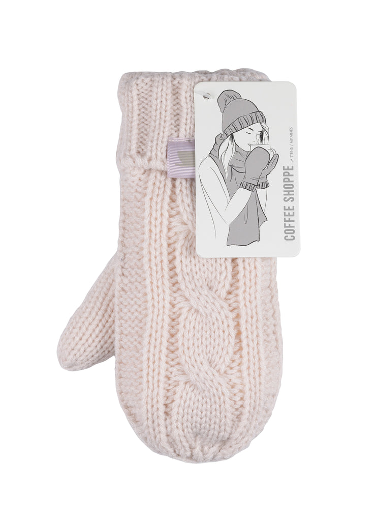 Coffee Shoppe - Cozy Cable Mittens Millennial Pink