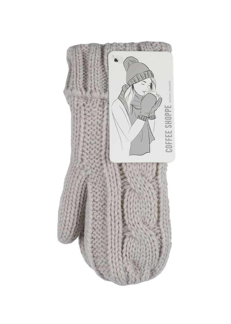 Coffee Shoppe - Cozy Cable Mittens Silver Cloud