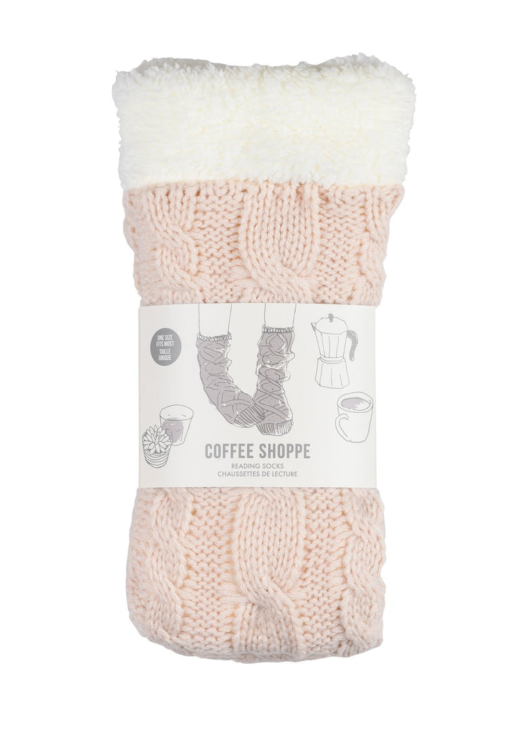 Coffee Shoppe - Cozy Cable Lounge Socks Millennial Pink