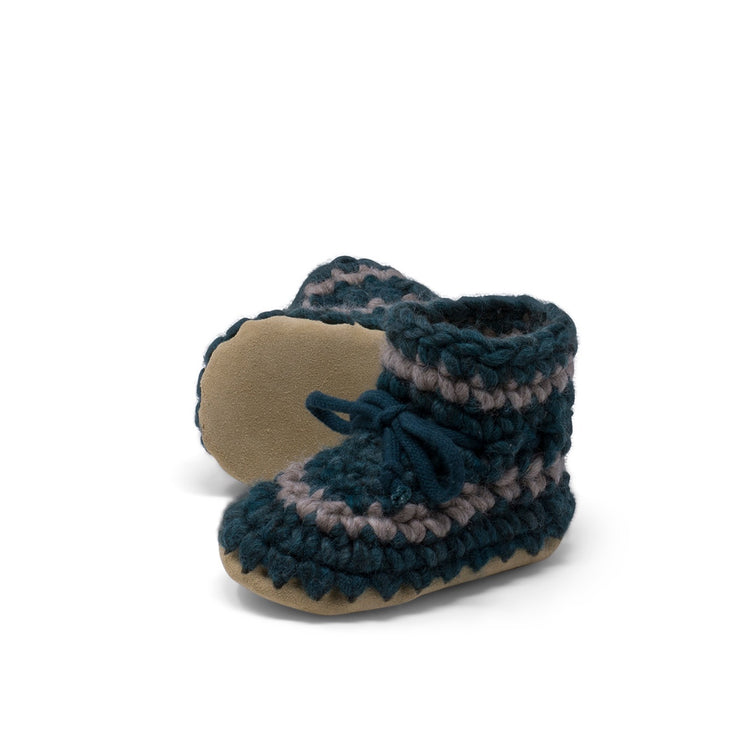Padraig Cottage - Baby Size 7 Slippers Forest Stripe