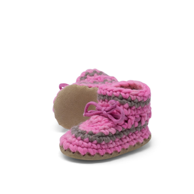 Padraig Cottage - Baby Size 5 Slippers Pink Stripe