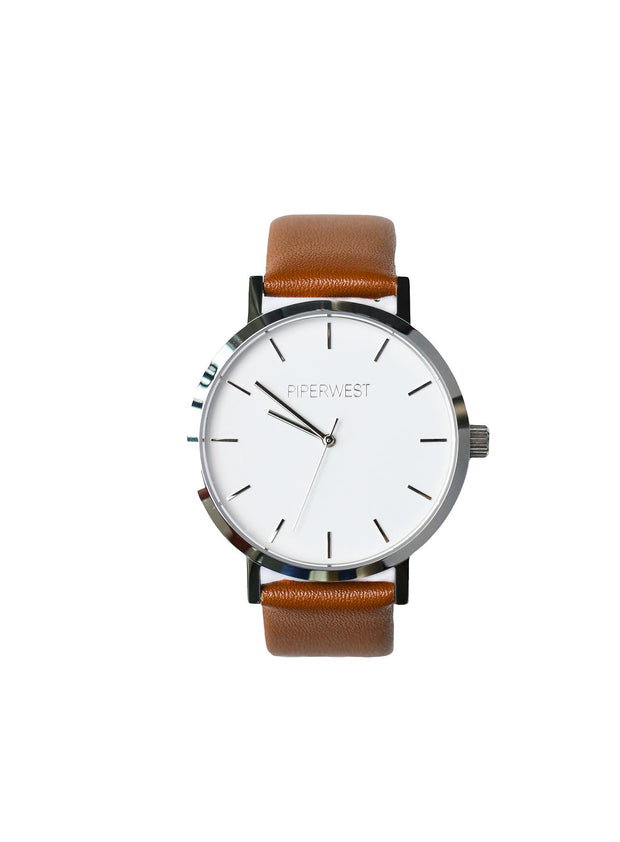 PiperWest - Classic Minimalist 42mm in Silver and Tan