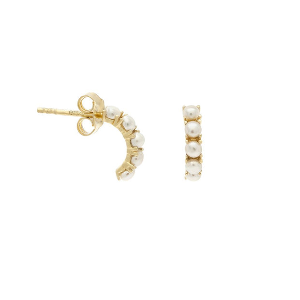 Leah Alexandra - Kusshi Mini Hoop Pearl Earrings in Gold