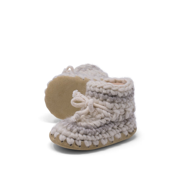Padraig Cottage - Baby Size 5 Slippers Cream Stripe