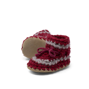 Padraig Cottage - Baby Size 7 Slippers Red Stripe