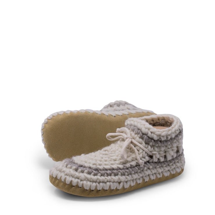 Padraig Cottage - Womens Small Slippers Cream Stripe