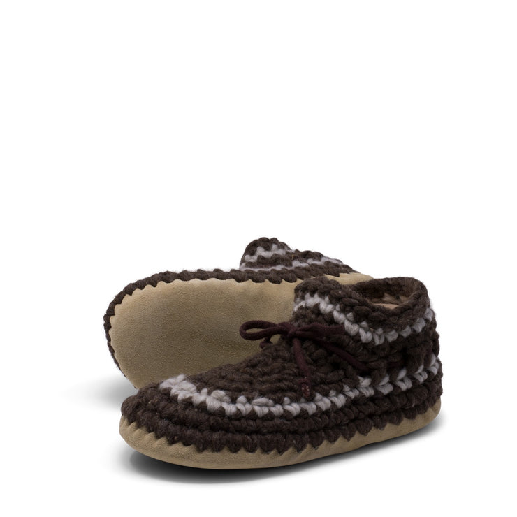 Padraig Cottage - Womens Small Slippers Brown Stripe