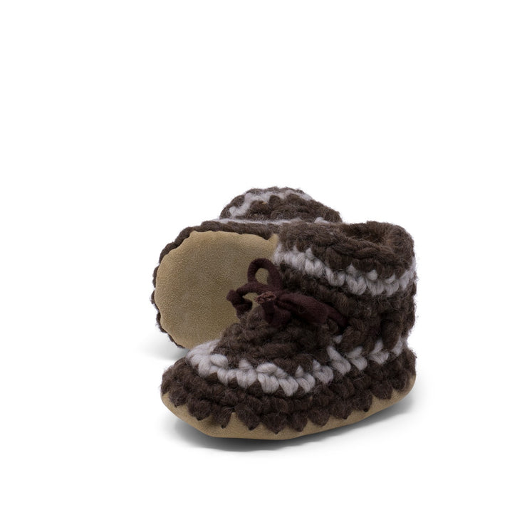 Padraig Cottage - Baby Size 3 Slippers Brown Stripe