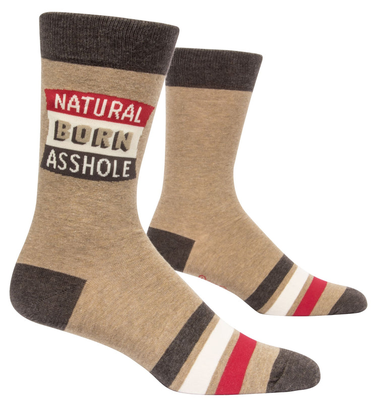 Blue Q - Men's Crew Socks Natural Born Asshole
