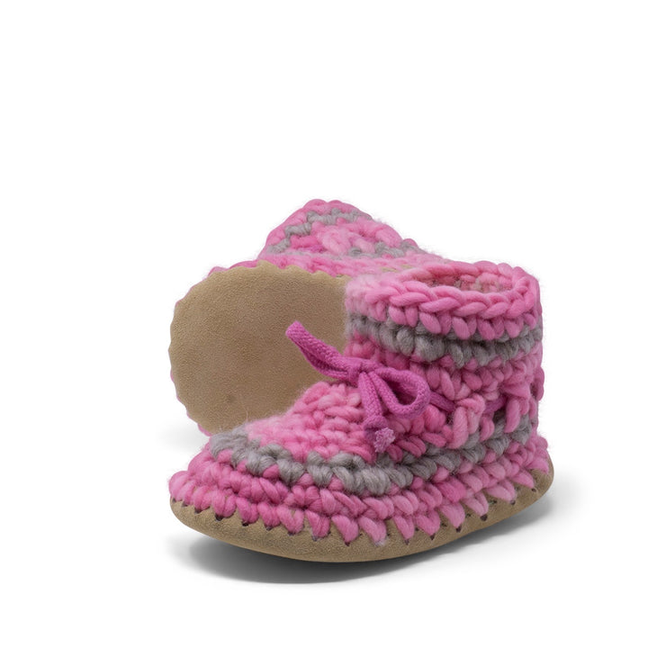 Padraig Cottage - Child Size 11 Slippers Pink Stripe