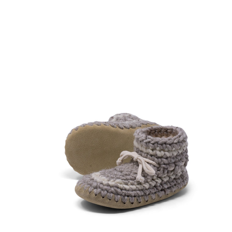 Padraig Cottage - Youth Size 1 Slippers Grey Stripe
