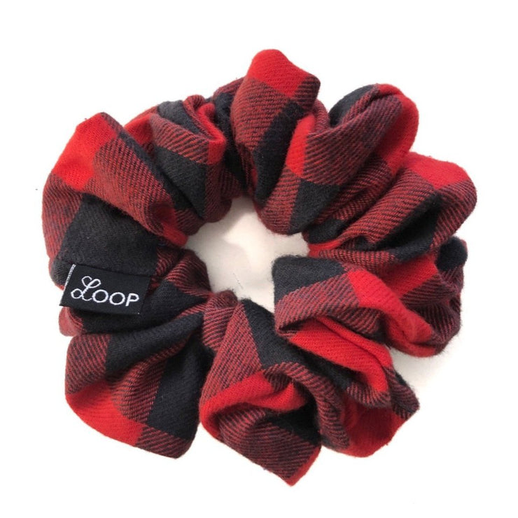 LOOP Scrunchie Country Liberty Red Buffalo Plaid