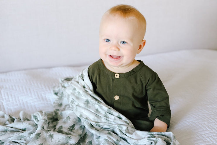 Copper Pearl - Swaddle Blanket Evergreen
