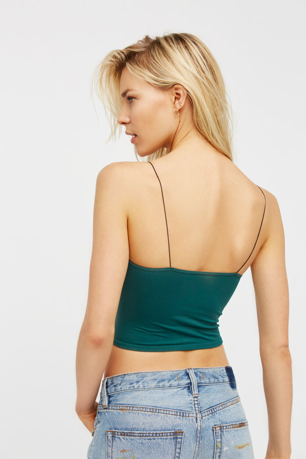 Free People Skinny Strap Seamless Brami Evergreen