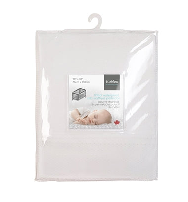 Kushies - Fitted Crib Mattress Protector White