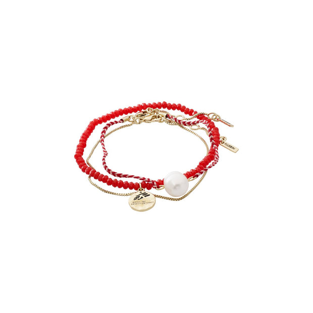 Pilgrim - Bracelet Charity MSF Gold Plated Red