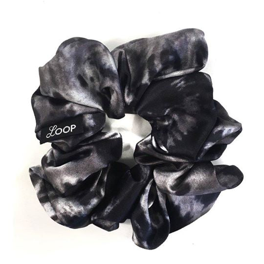 LOOP Scrunchie Classic Black & Grey Tie Dye Satin