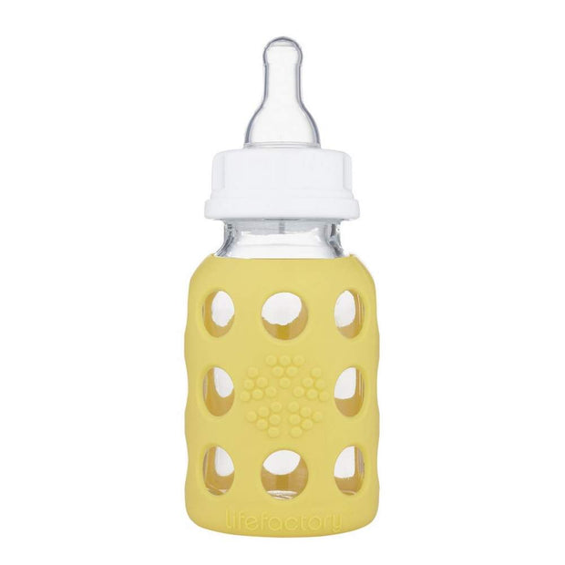 Lifefactory - 4oz Glass Baby Bottle Banana