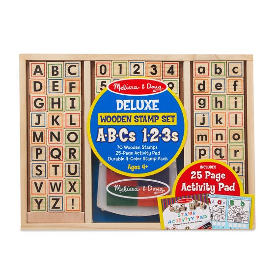 Melissa and Doug Deluxe Wooden Stamp Set ABC 123