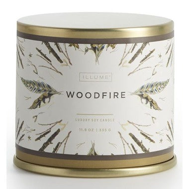 Illume - 11.8oz Vanity Tin Candle Woodfire